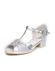Блок-каблук, бабочка (306), серебро
